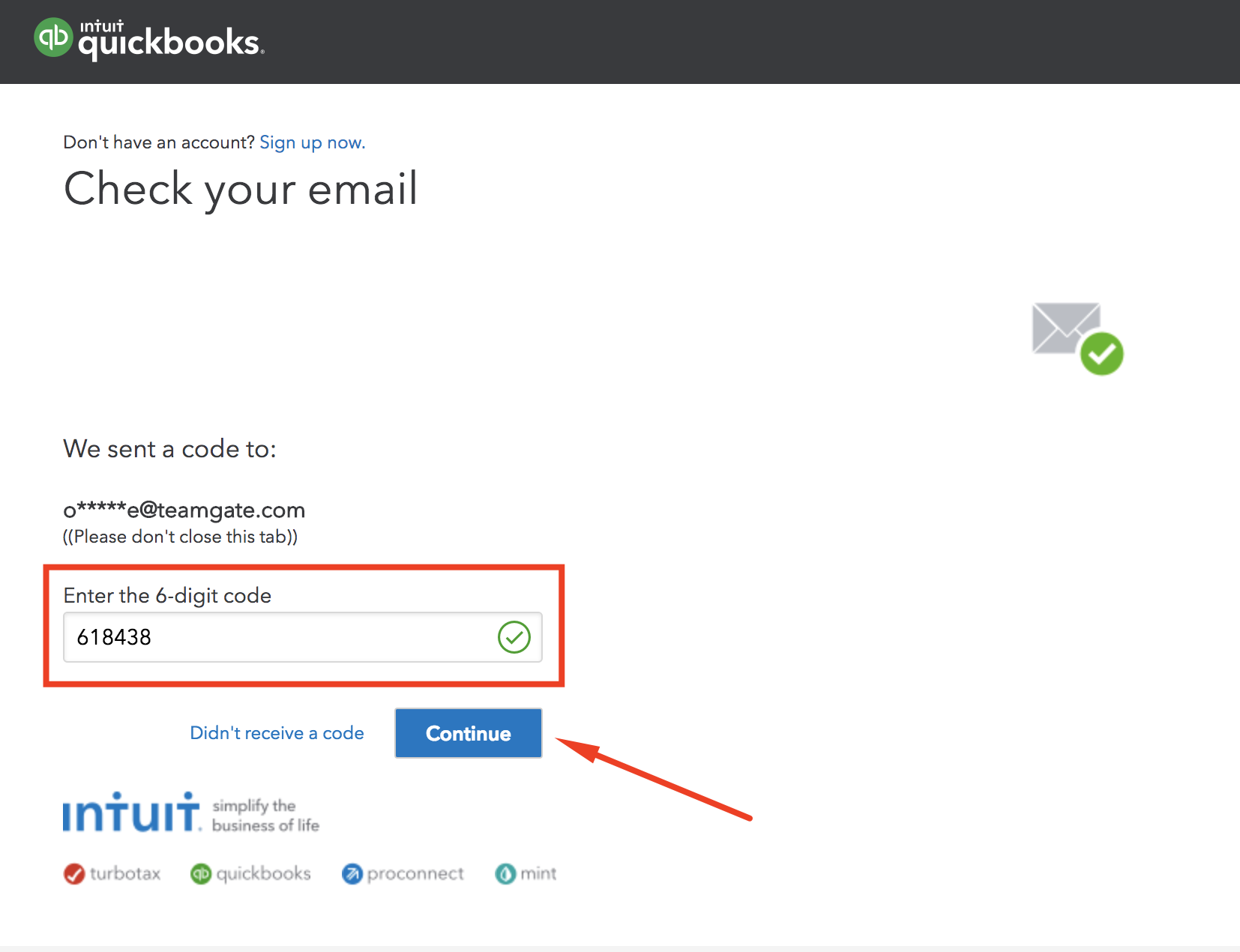 enter-confirmation-code-QuickBooks-Teamgate-integration.png